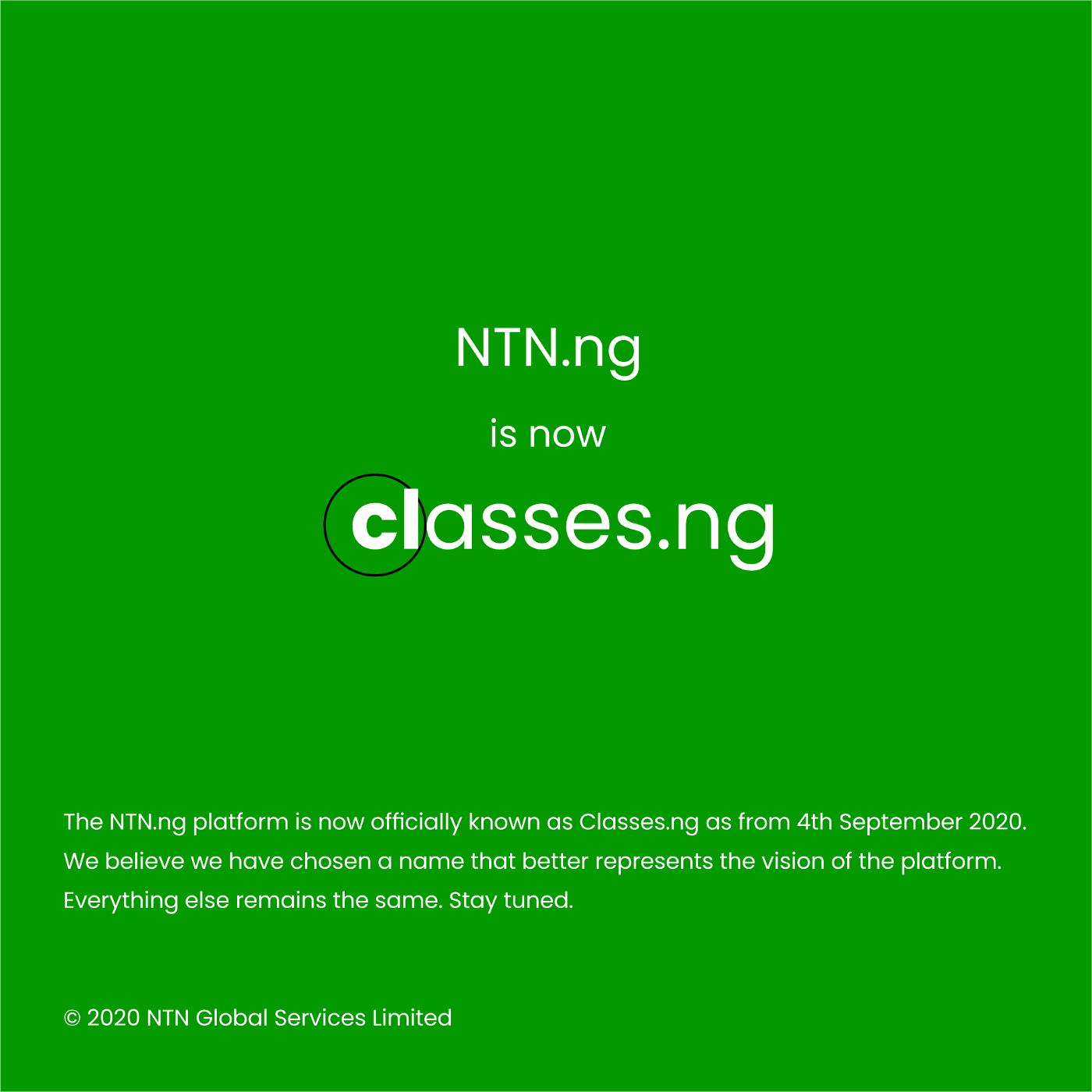 Classes.ng announcement