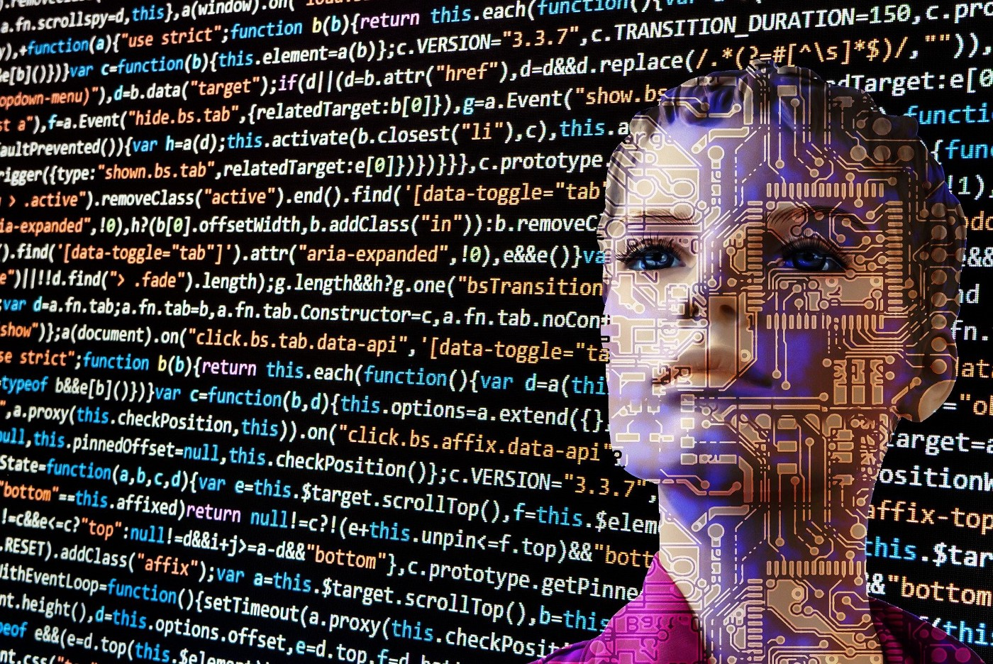 A face of an artificial intelligence robot with binary code in the background