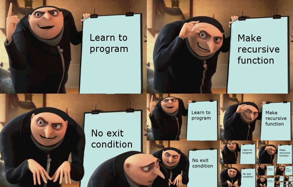 Meme of Gru showing his evil plan. Panel 1 reads learn to program. Panel 2 reads make recursive function. Panel 3 reads no exit condition. Panel 4 is a copy of the previous three panels. In the bottom right of that copy is yet another copy. Gru has found himself in quite the recursive mess!
