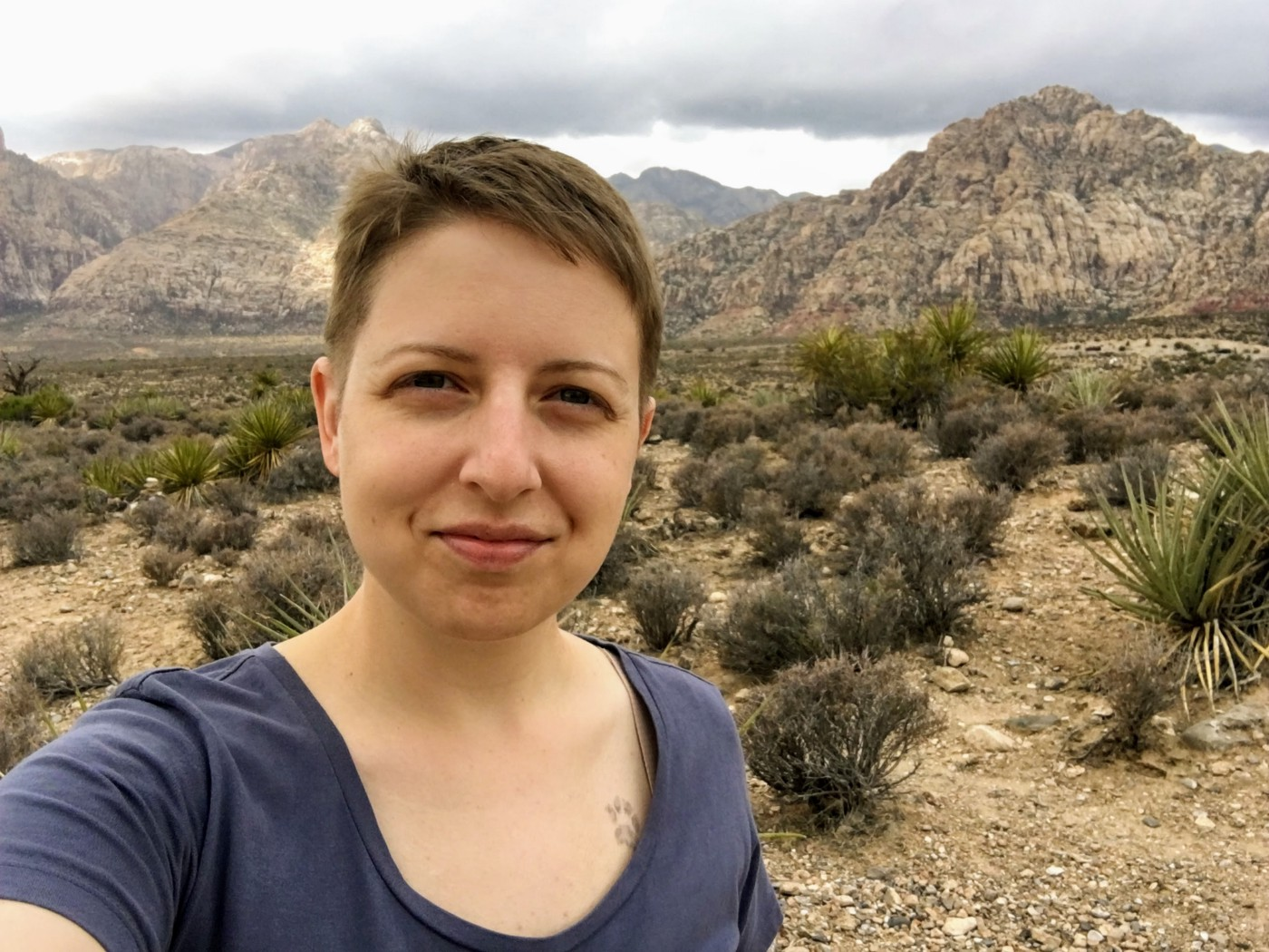 Selfie photograph of a white woman with short brown hair standing in the desert. She is slightly smiling at the camera. There are rock formations in the distance and shrubby plants in the foreground.
