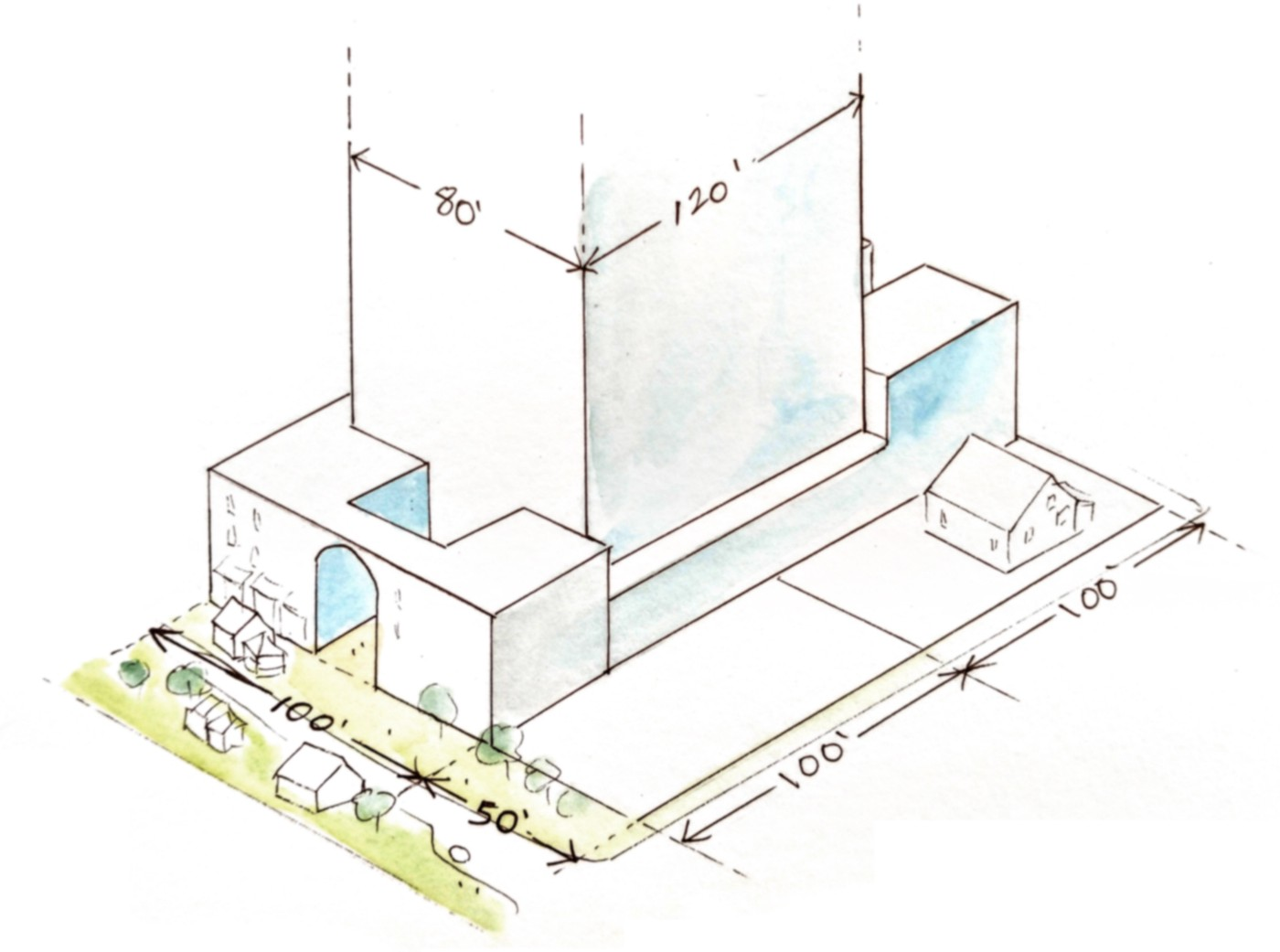 Isometric drawing of a 80'x120' wide tall building built in the middle of a 100'x200' lot. There is a street in front with a landscaped plaza and tiny houses and driveway