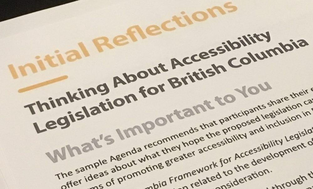 Decorative picture of the documents received during the consultations for the Framework for Accessibility Legislation in BC