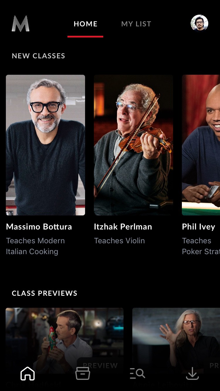 Screenshot of Masterclass app showing hierarchy by texture with photographs