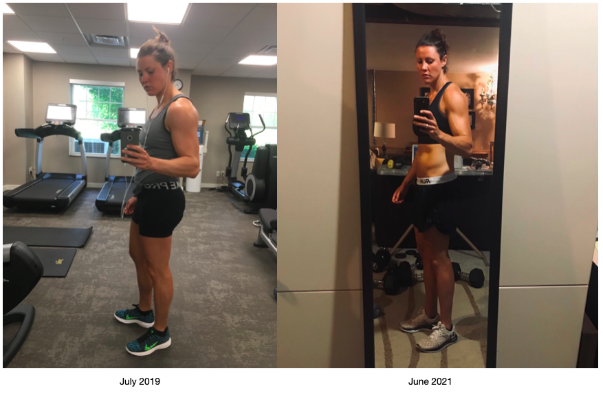 Author posing in a gym. Right side: July 2019. Left side: June 2021, now at home