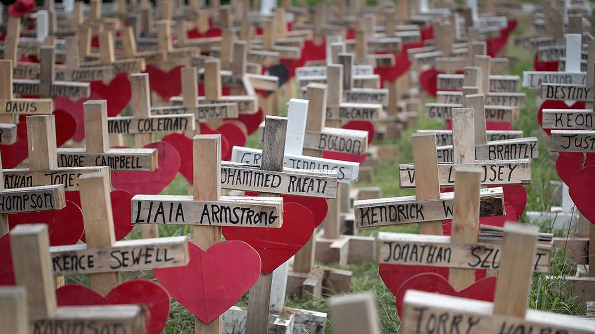 Wooden Crosses on graves of mass shooting victims