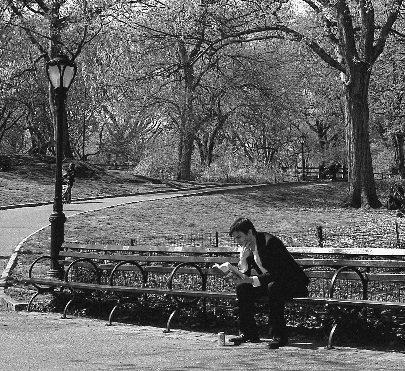 Black and white photo of a man in a suit reading a book on a park bench, looks like he is really concentrating on it