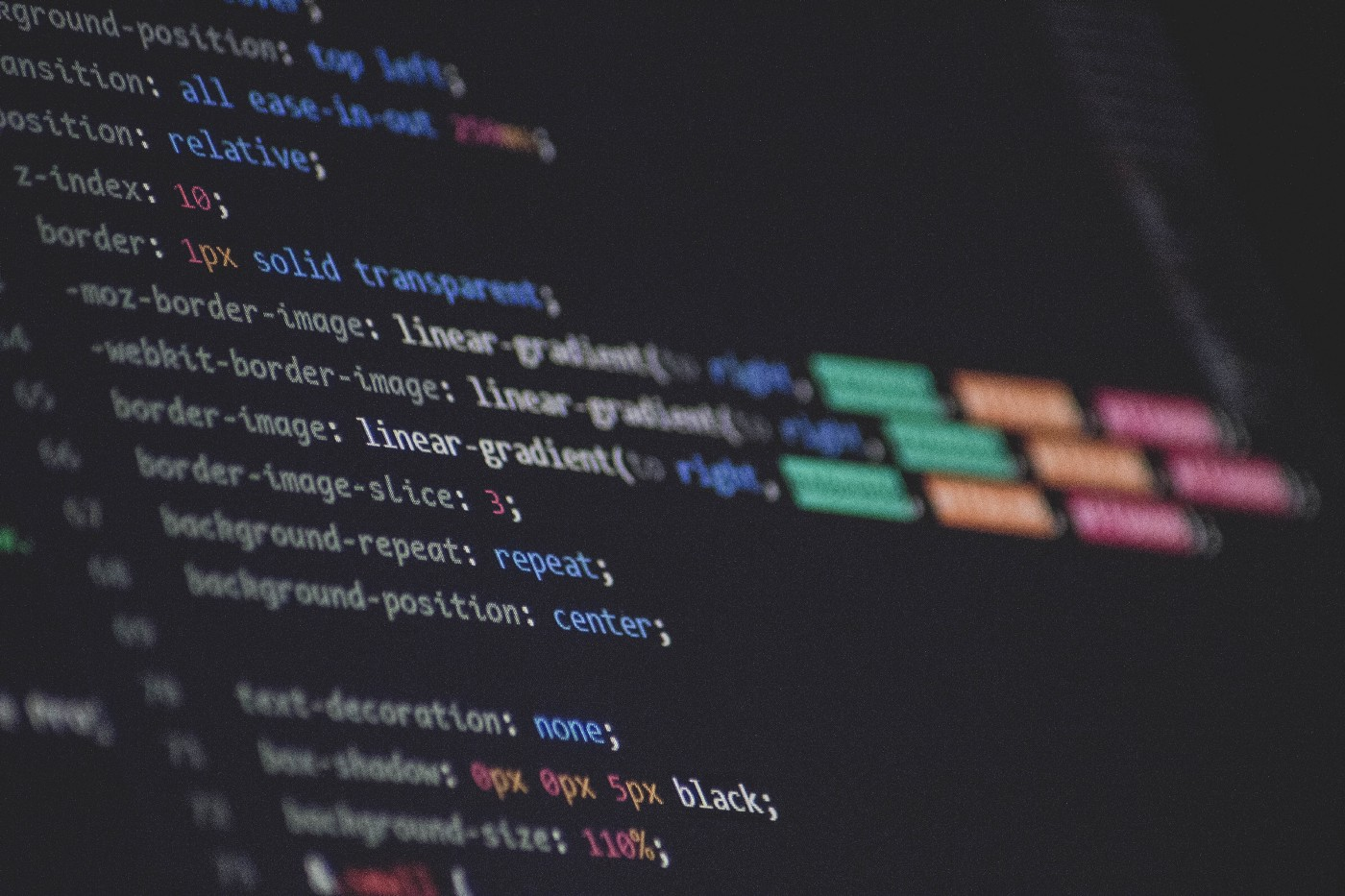 Image of a screen with CSS code on it