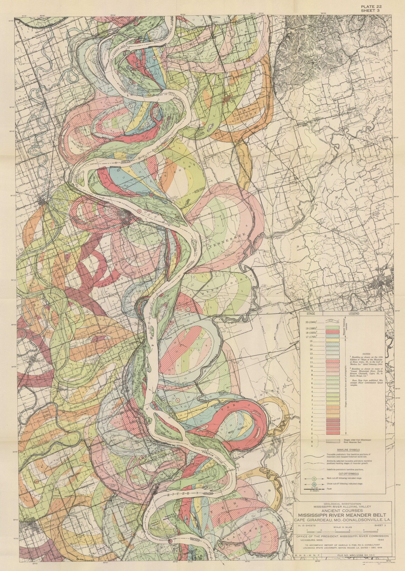 A 'Meander map' of the Mississippi River over time. Created by Harold Fisk for Army Corp of Engineers.