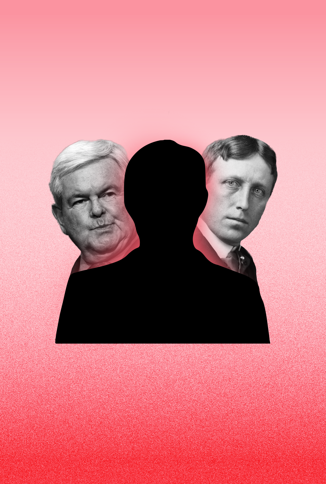 A mysterious silhouette rests center a red background. Peeking behind on the right is W. Hurst, from the left is N. Gingrich.