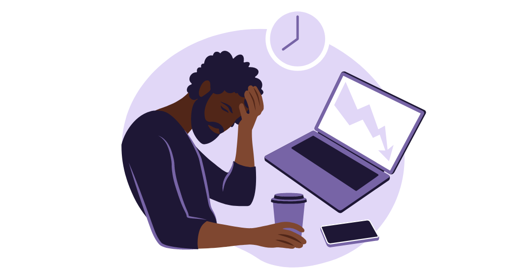 An illustration of a man showing frustration