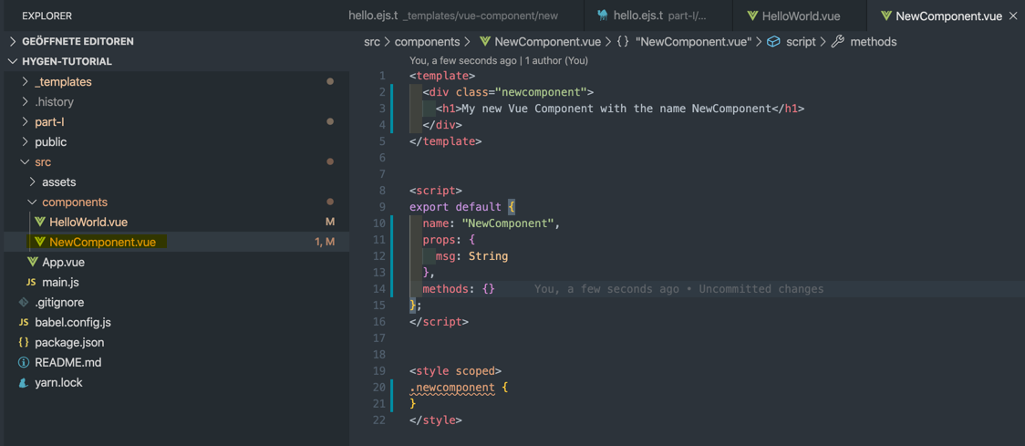 New Component file in our project structure