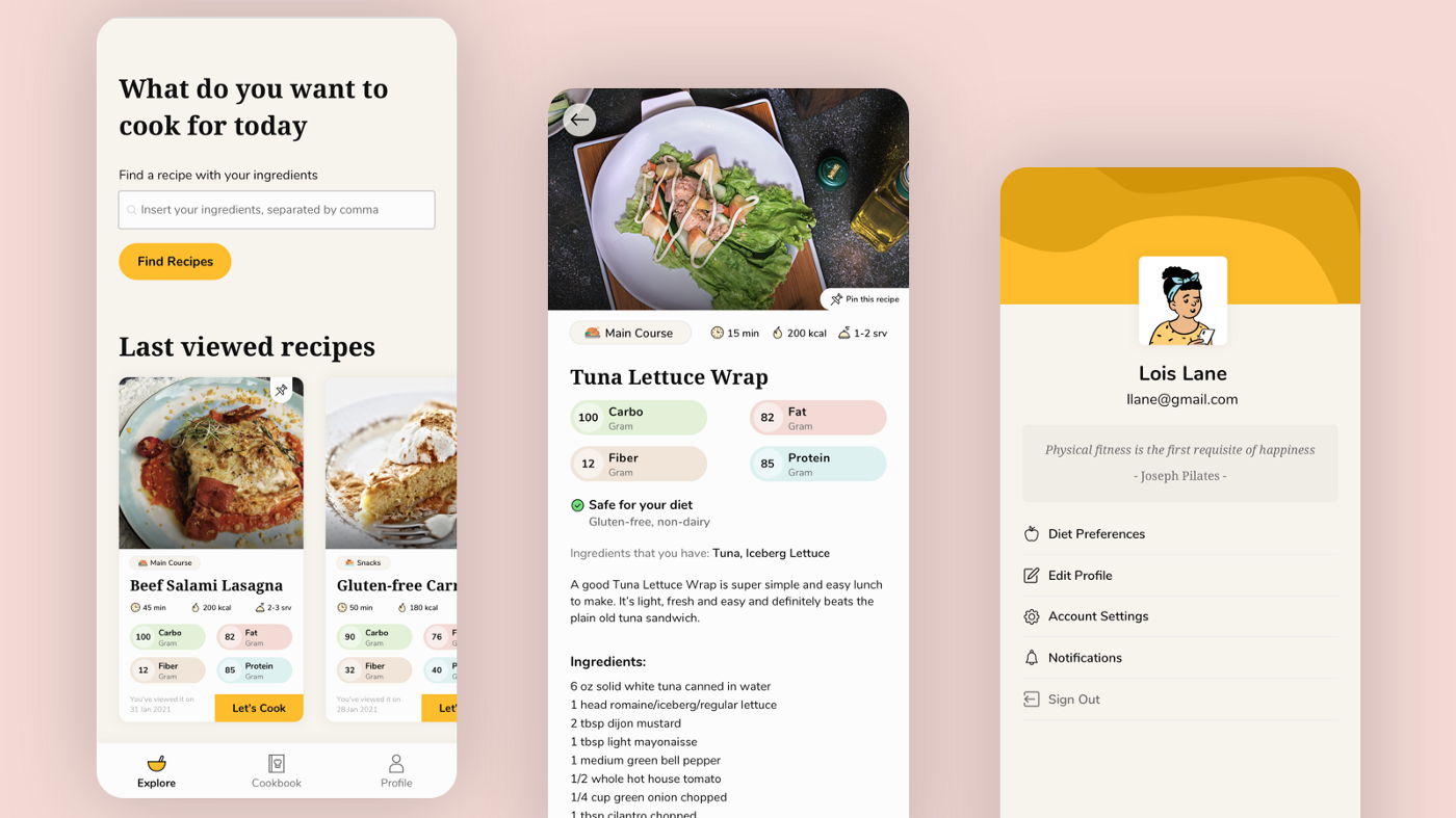 Pumpkin App, designed by Nuri Sanendita. A recipe app for personalized ingredients, basically you find a recipe based on your ingredients and it's well informed with nutrients intake. It's a light mode UI Design, with Yellow (tone) is as the primary color. There are 3 screens that showed, Explore, Recipe Detail, and Profile