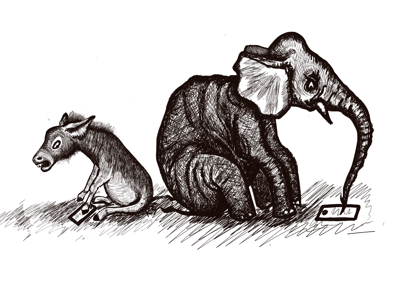 An elephant and donkey sitting back to back, staring angrily at electronic devices