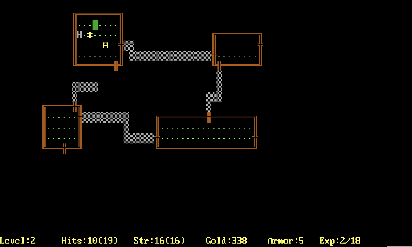 A screenshot from the 1984 DOS edition of Rogue