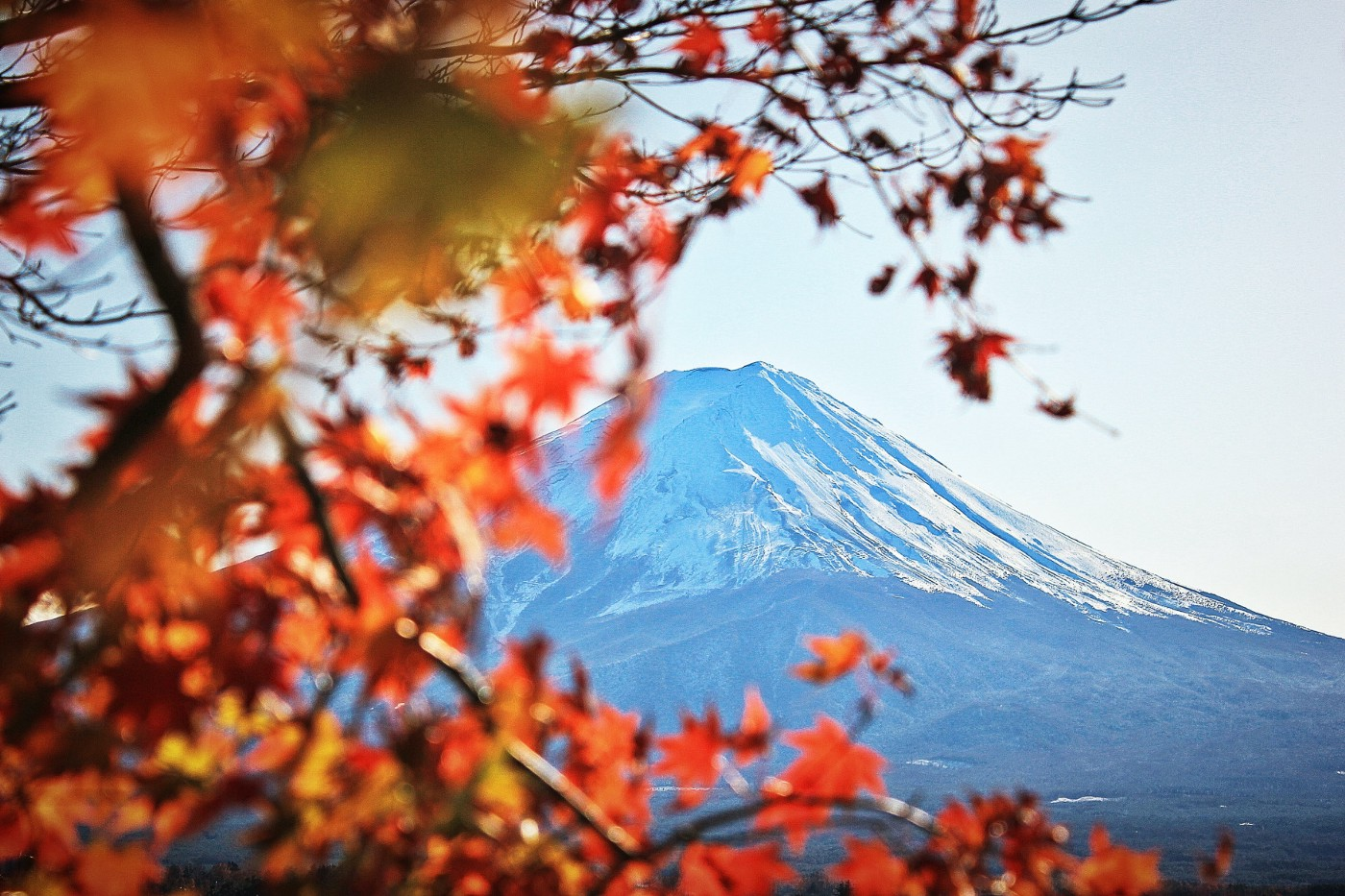 Photo of Mt. Fuji, Japan, in winter.