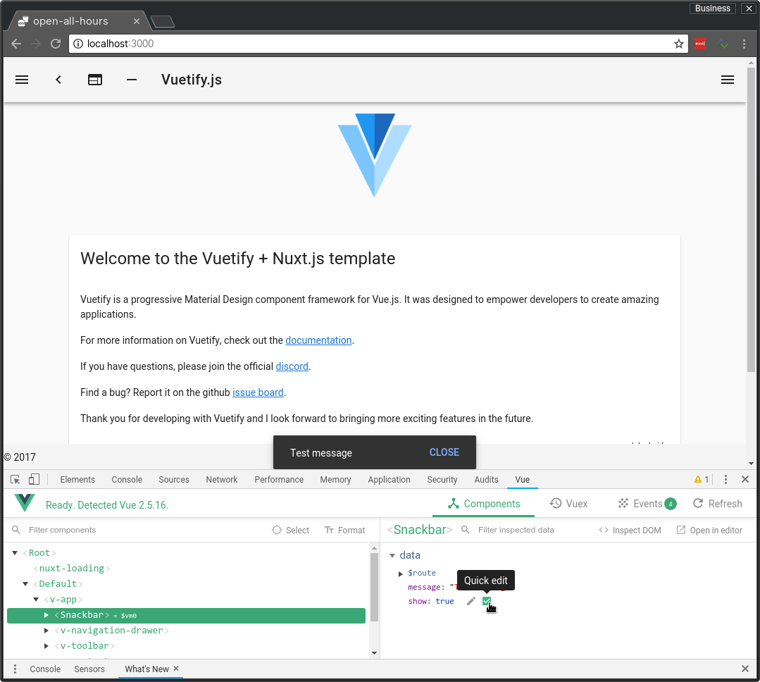 Implementing a global snackbar in Nuxt js & Vuetify using Vuex