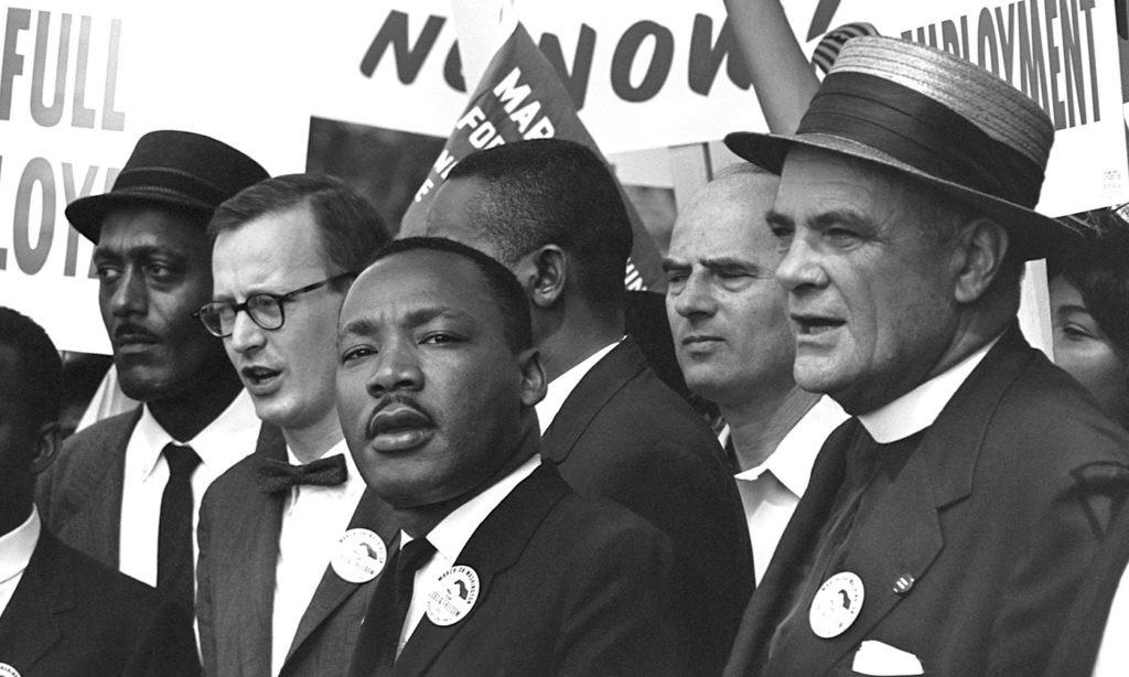 Rev. Martin Luther King, Jr. and compatriots at March on Washington for Jobs and Freedom, August 28, 1963