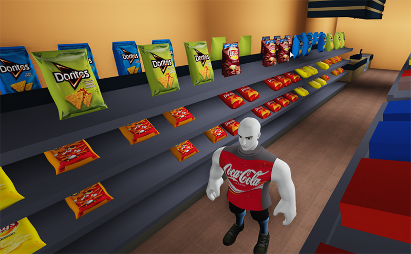 A player avatar stands in a rudimentary 3D shop. The shelves carry highly detailed packets of doritos and lays chips. The avatar wears a red shirt with a coca-cola logo on it.