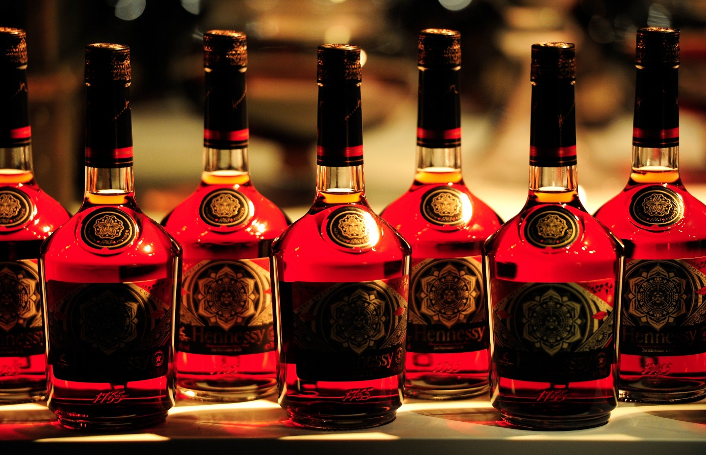 Special limited edition bottles of Hennessy cognac bottles.