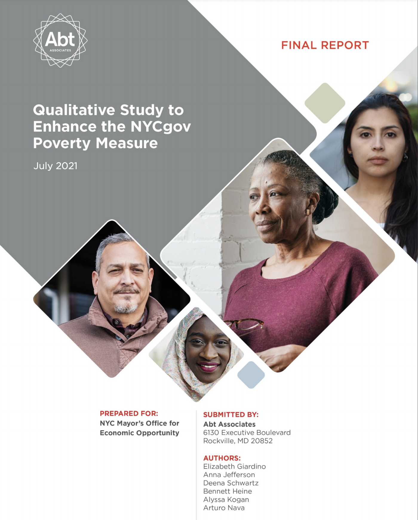 The image of the report cover of the Qualitative Study to Enhance the NYCgov Poverty Measure. There are diverse headshots of 4 individuals on the cover.