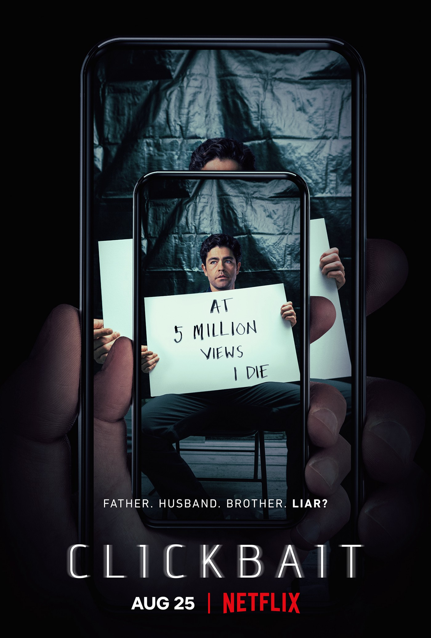 """The series poster of the show where you can see a phone with the viral video on it. The video shows Nick Brewer holding a sign that reads """"At 5 Million Views I Die""""."""