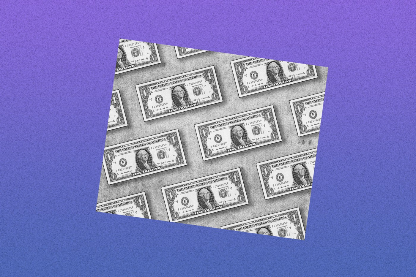 Black and white photo of one USD bills against a purple gradient background.