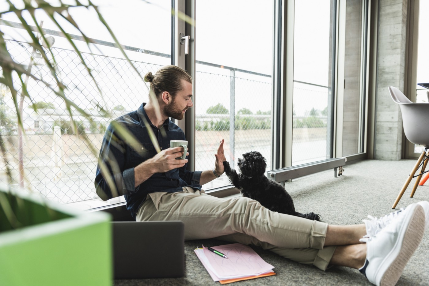 A young man with a laptop sits on the floor in an office and gives a high-five to his dog