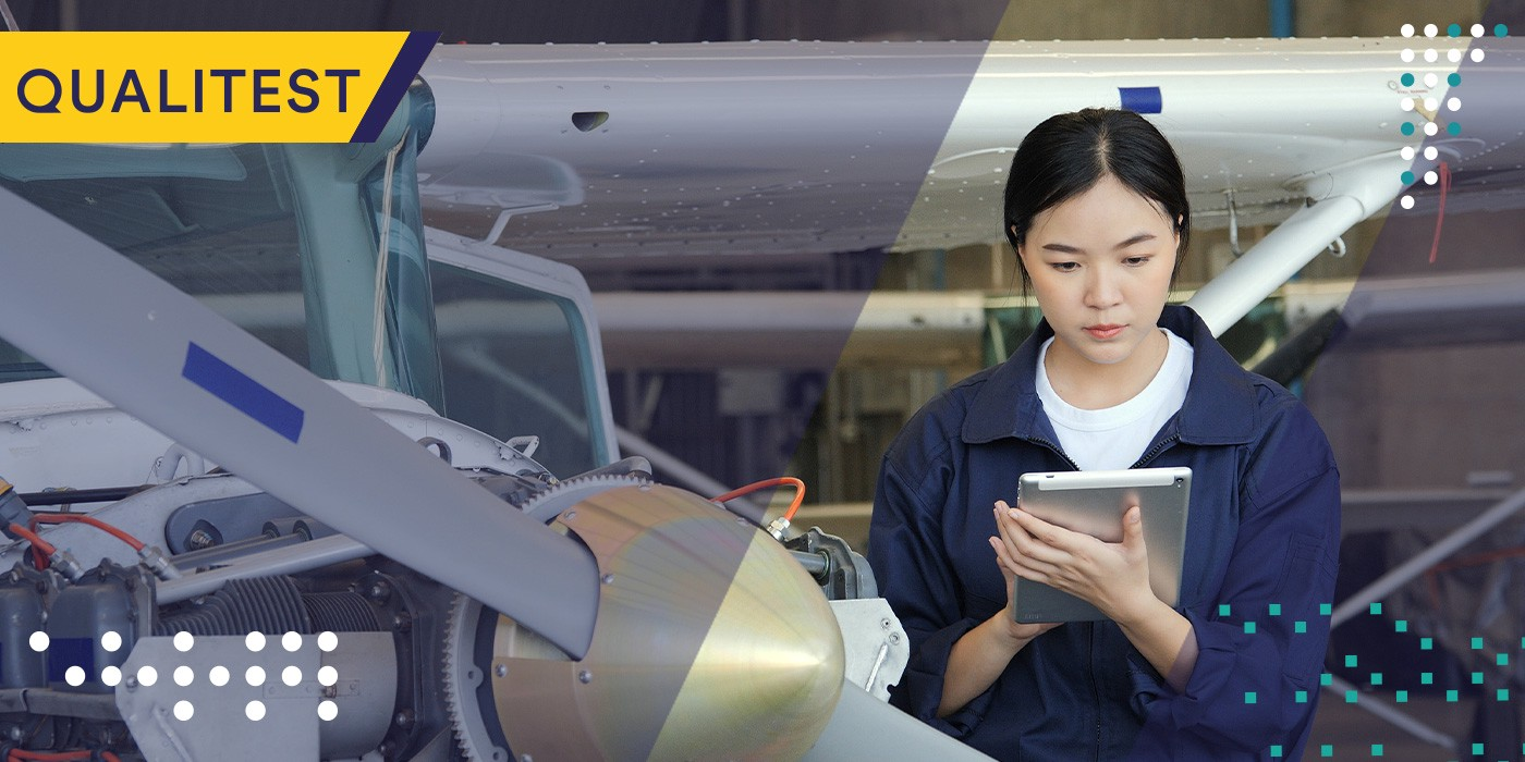 Woman checking new technology trends in post-COVID aviation industry