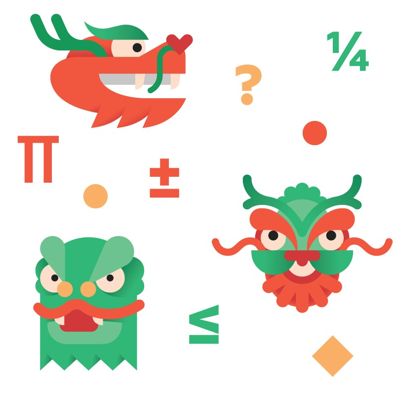 Three dragons with different mathematical symbols