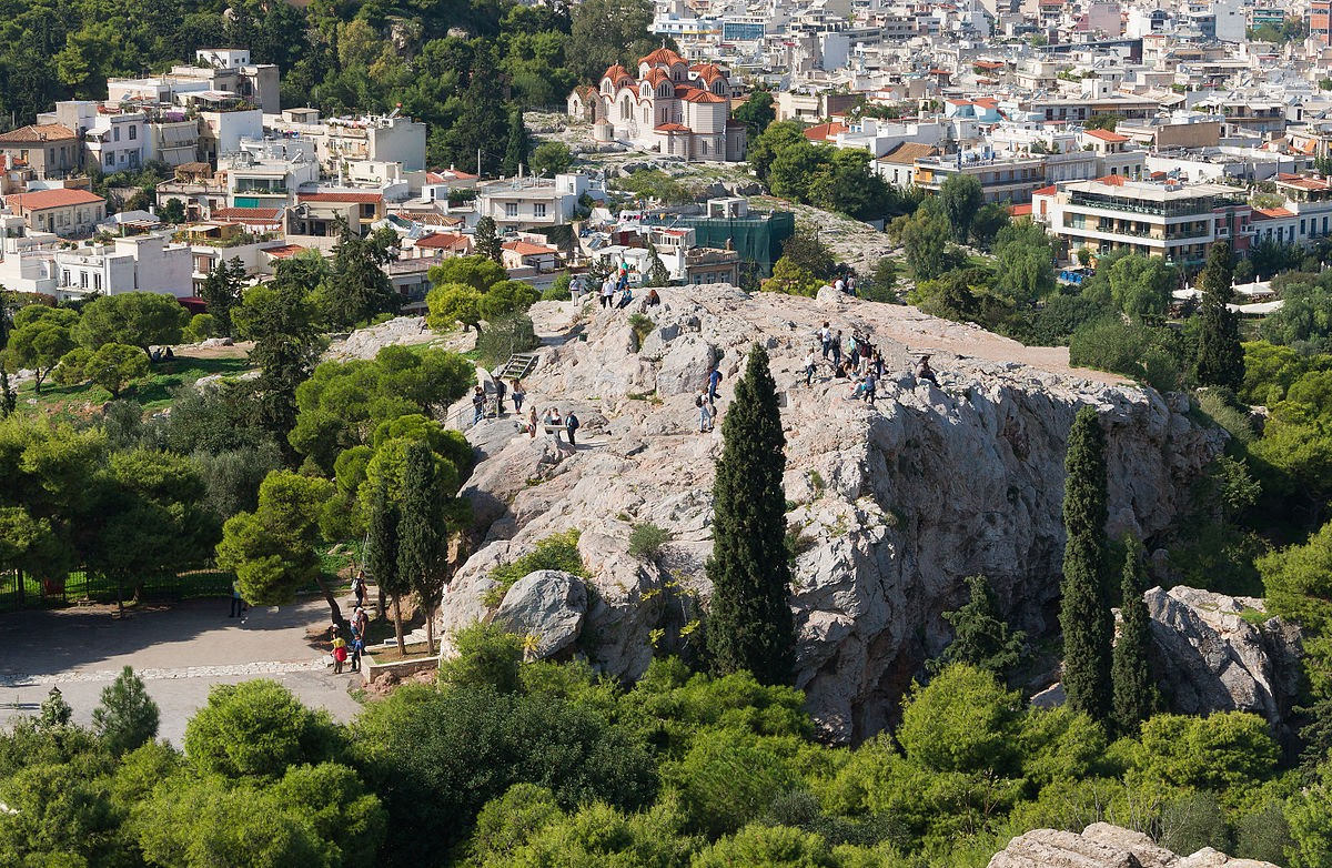 Areopagus hill Saint Paul from Acropolis Athens