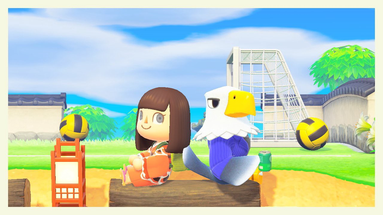Hannah's Animal Crossing character sits back-to-back with Apollo, an anthropomorphic eagle in a pinstripe suit jacket.