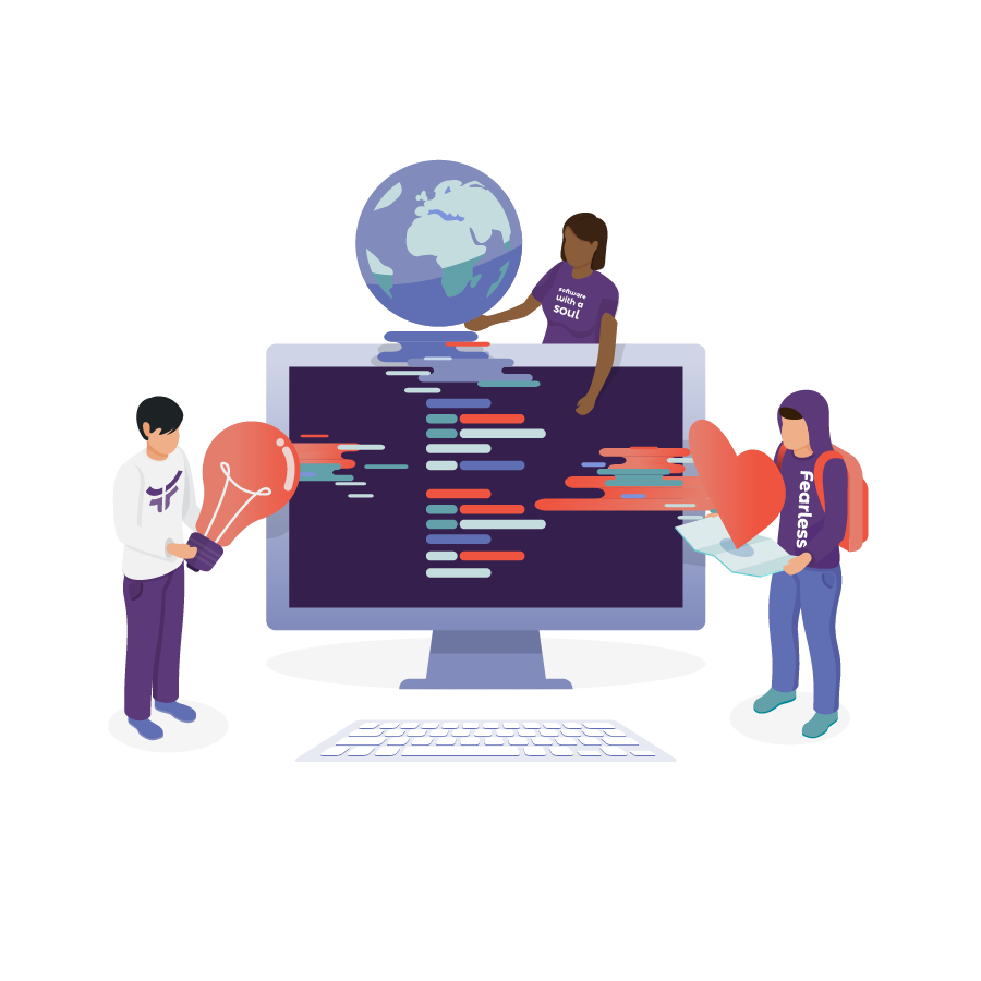 illustration of people working on a large computer representing digital transformation