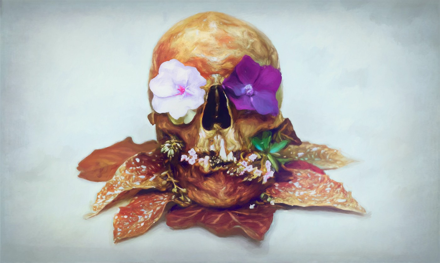 a painting of flowers coming out of a skull