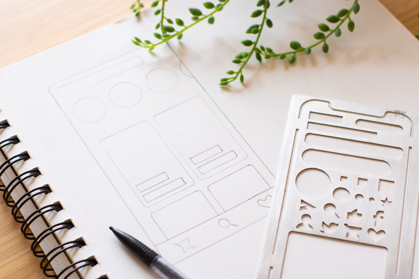 A wireframe on a notebook