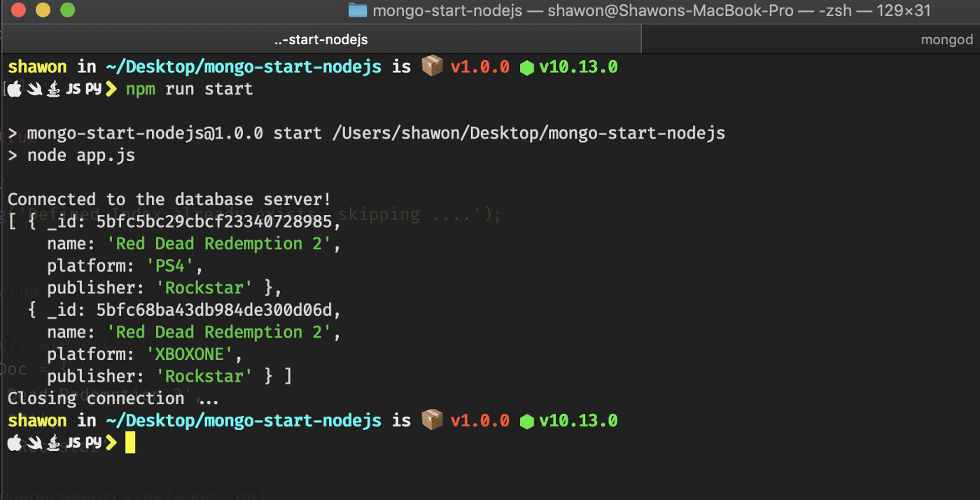 Getting up and running with MongoDB — Part 2 — NodeJS and MongoDB