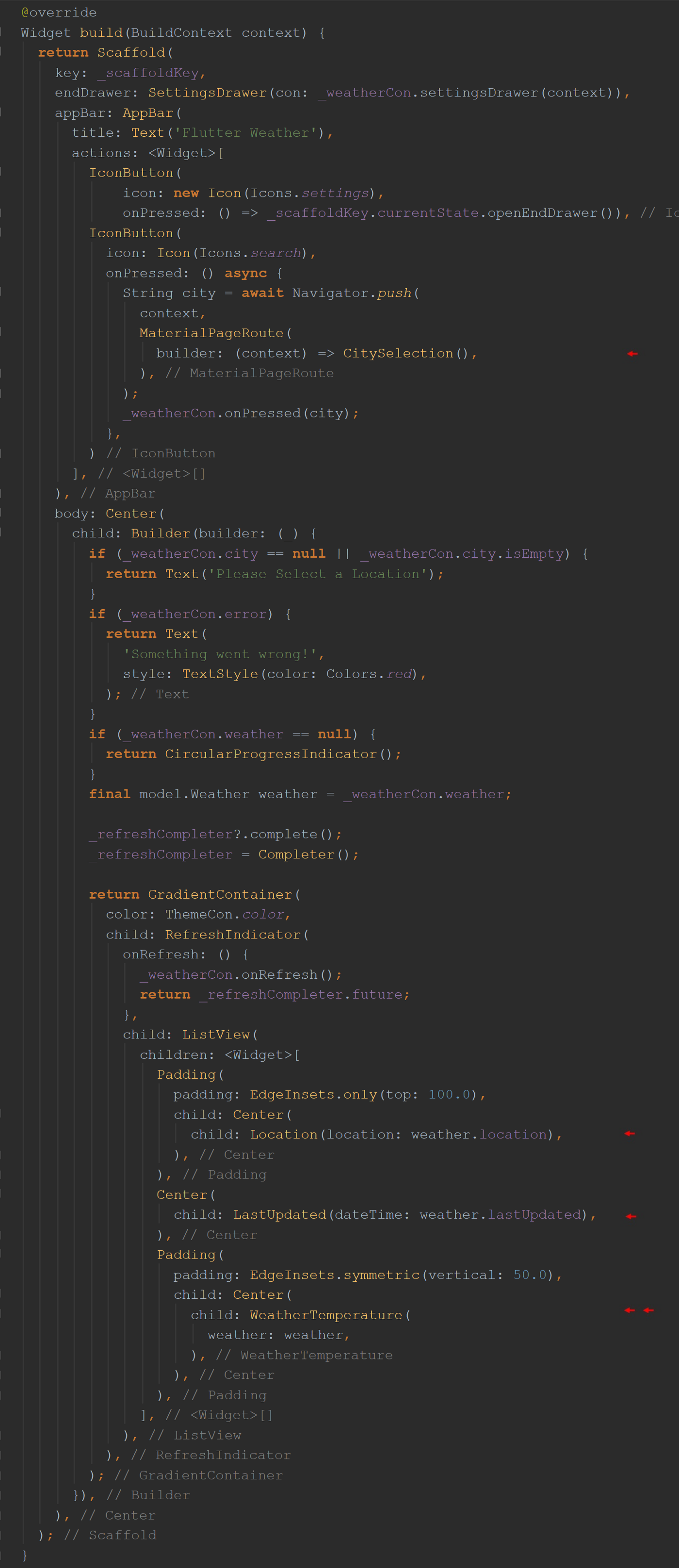 _WeatherState class build() function.