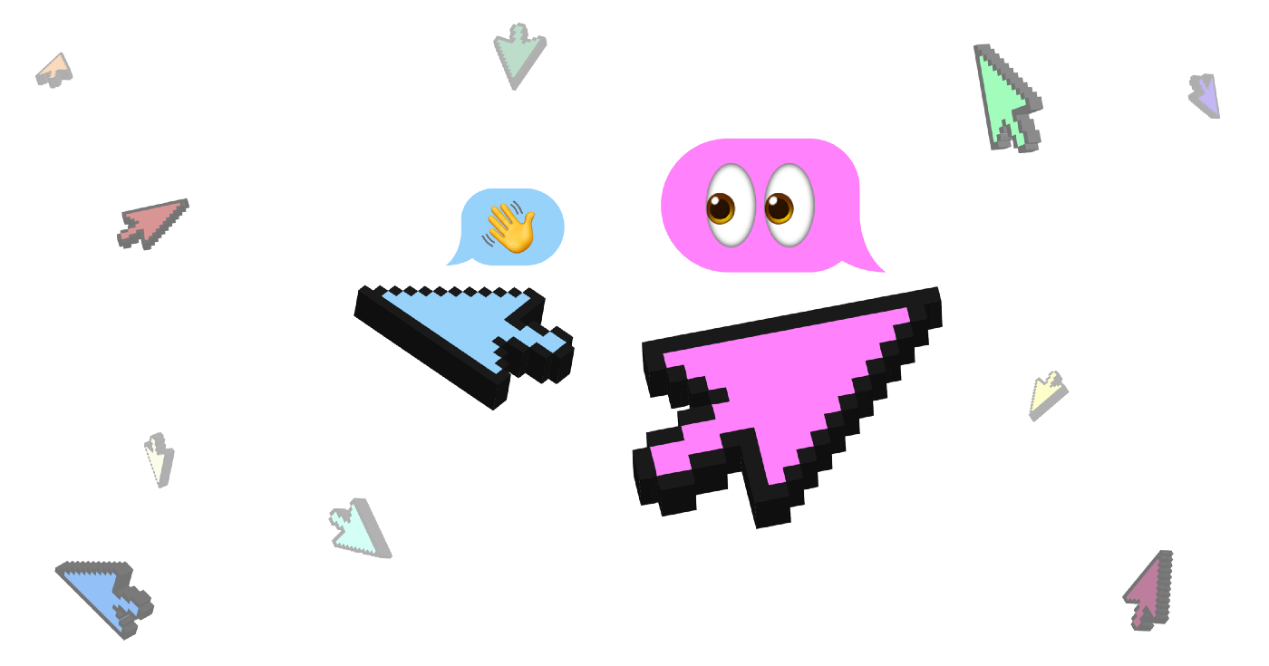 Colorful computer cursors fly around with the middle two greeting each other