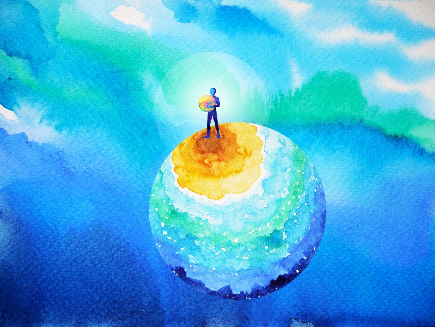 Watercolor illustration of a person standing on a colorful globe holding a globe.
