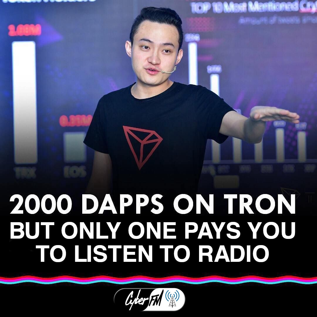 2000 Dapps on TRON, but only one pays you to listen to Radio.