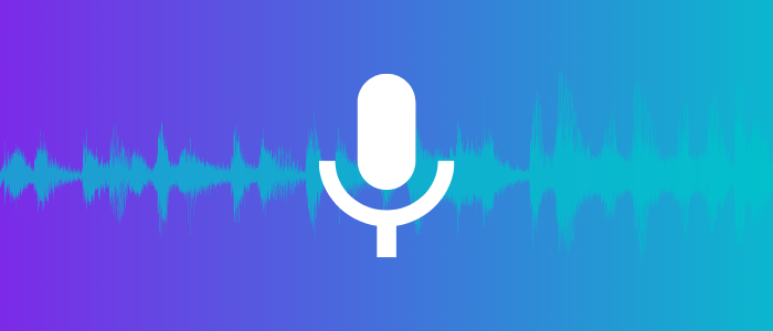 purple background with audio waves (blue color) and mic's logo on top of the wave