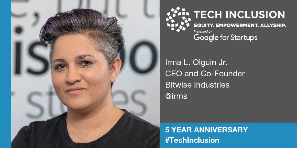 A Tech Inclusion speaker card featuring a photo of Irma L. Olguin Jr., smiling into the camera and wearing a black shirt.