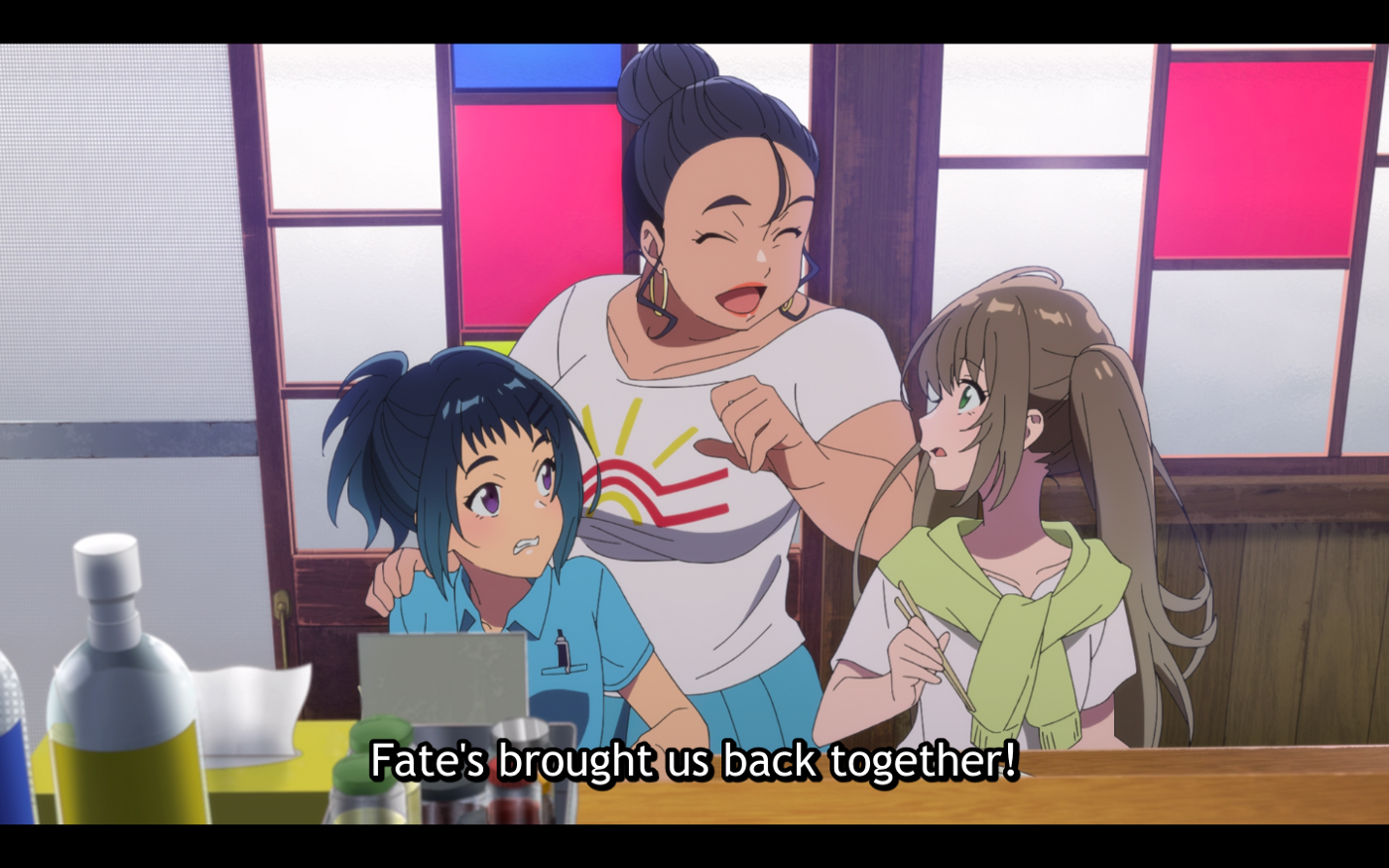 Udon-chan watches apprehensively as her mother and Fuuka reunite.