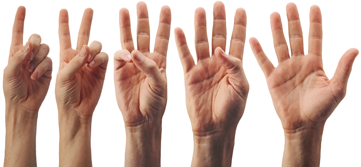 hands counting from the number one to the number five
