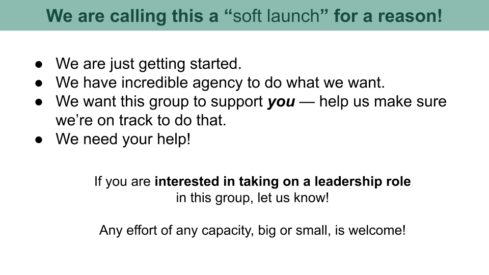 """A slide of bullet points that explain why the event is a """"soft launch."""""""