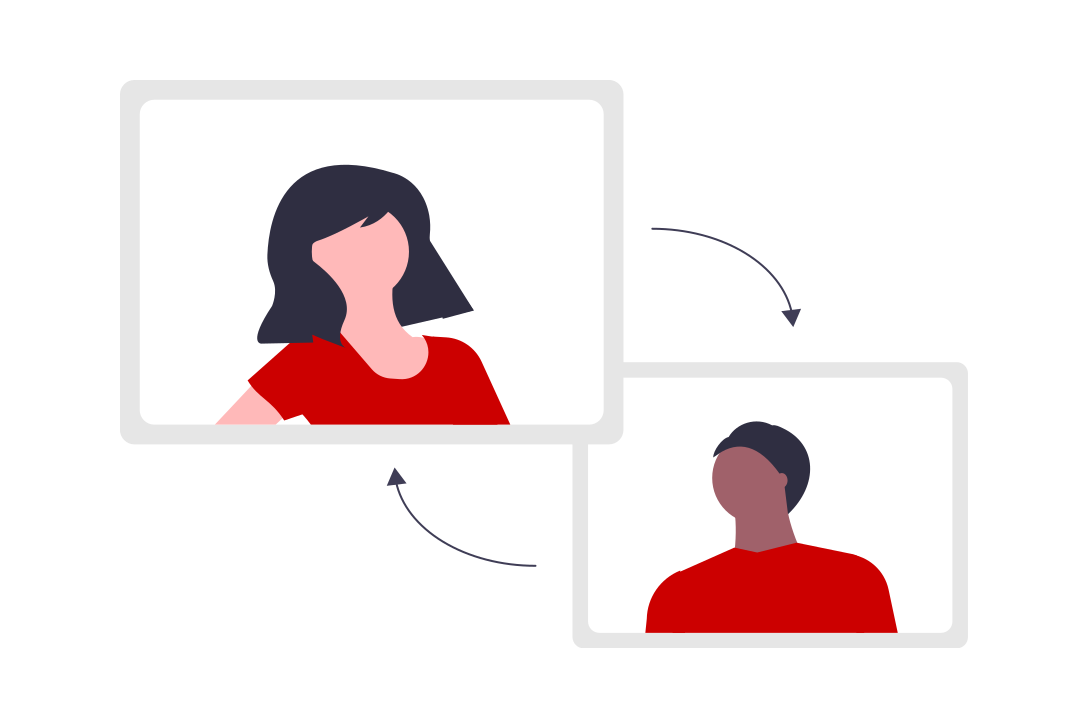 Two people in separate screens with arrows pointing to each screen, representing online meetings