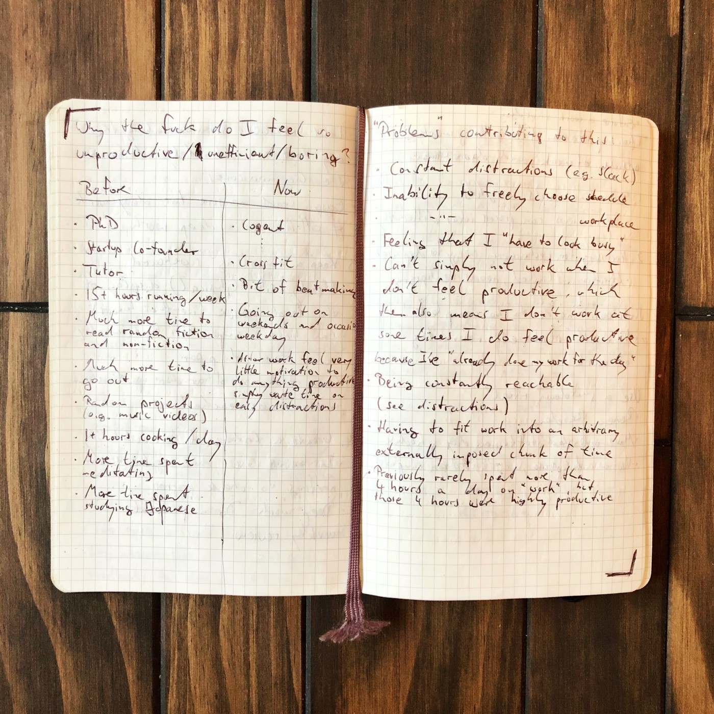 Two pages in the author's notebook, written in August 2017.