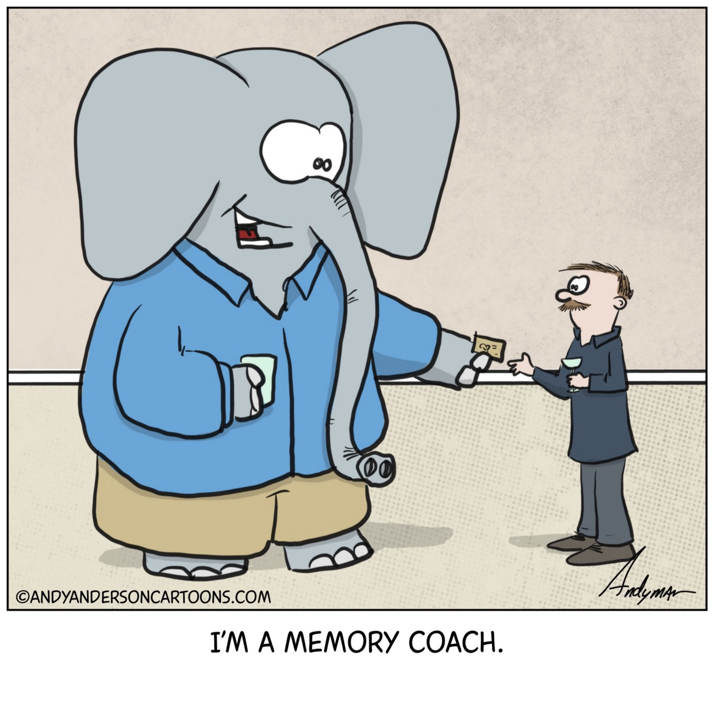Cartoon about an elephant as a memory coach by Andy Anderson