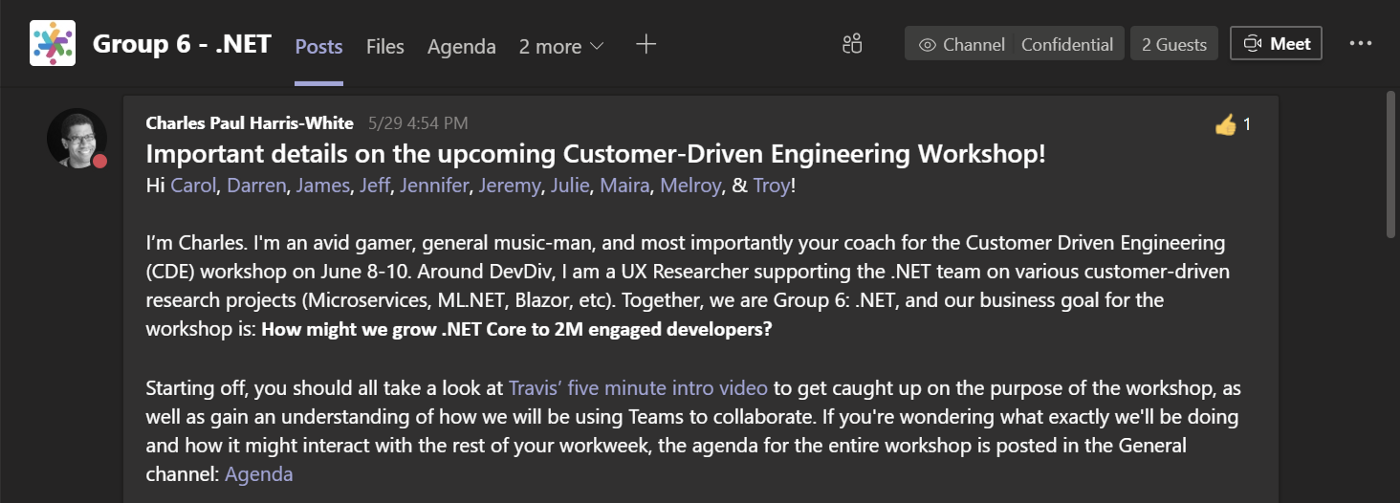 A screenshot of a group coach introducing himself to his group via their group's private Microsoft Teams subchannel