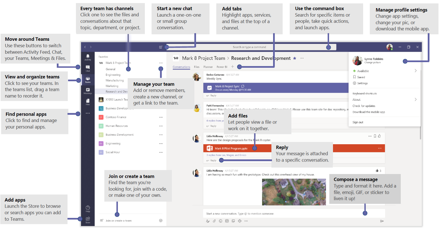 Microsoft Teams GUI with Labels