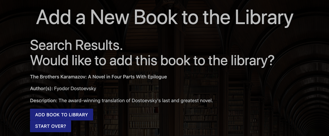 Search Results for an admin's search for author: Dostoevsky, title: brothers karamazov. Add Book to Library? Or Start Over?